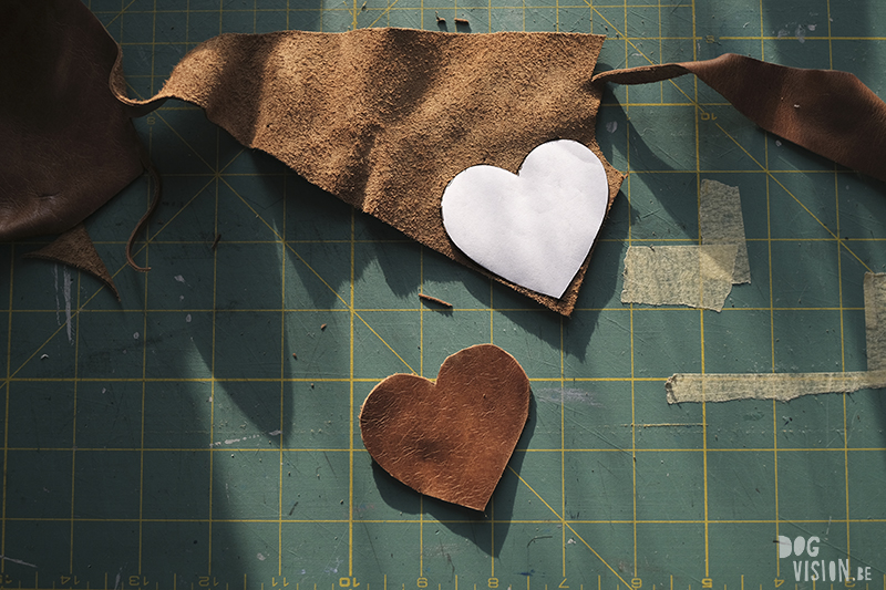 Leather work, Valentine's heart for a dog collar, handmade leather craft, dog diy, www.DOGvision.eu