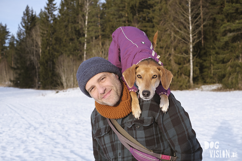 #TongueOutTuesday (06), DOGvision dog photography, dog dad and mutt puppy in the snow, coat by Hurtta, . www.DOGvision.eu
