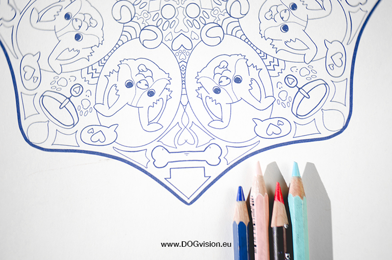 DOGvision printable dog drawing and mandala, www.DOGvision.eu