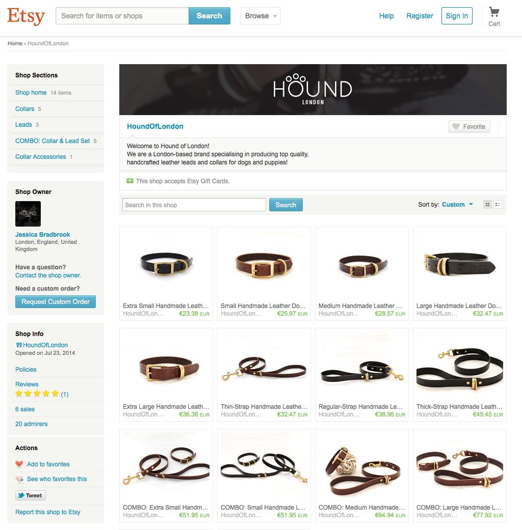 Etsy | Hound of London | dog collars