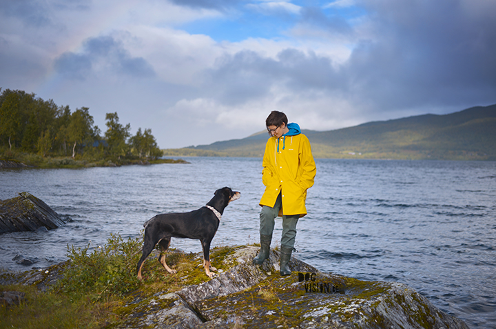 Yellow Rain coat | Norway | Traveling with dogs | blog on www.DOGvision.be