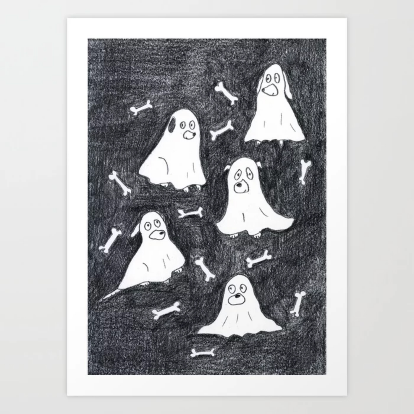 howloween/ halloween art print with dogs, order through Society6.com/dogvision, dog illustration, dog gifts, dog art, www.DOGvision.eu