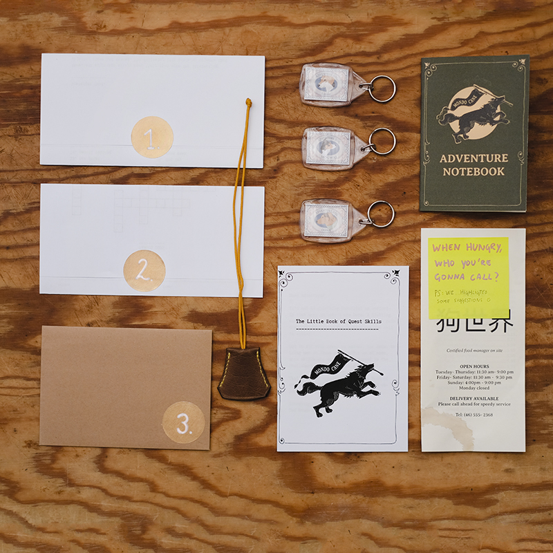 The Mondo Cana package, adventure notebook, clochette, letters with golden stickers, a quest manual, scavenger hunt, www.DOGvision.eu