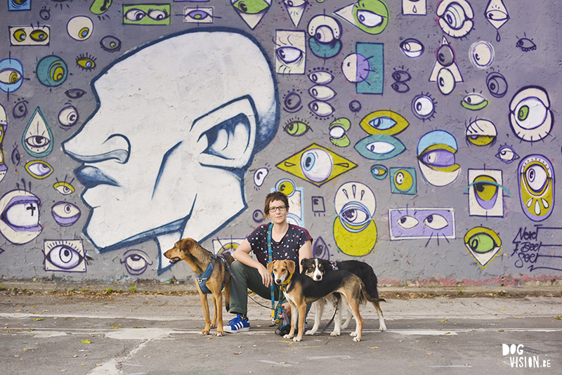 Me and my dogs in front of a graffiti wall in Ljubljana, Metelkova mesto, dog photography Europe, www.DOGvision.eu