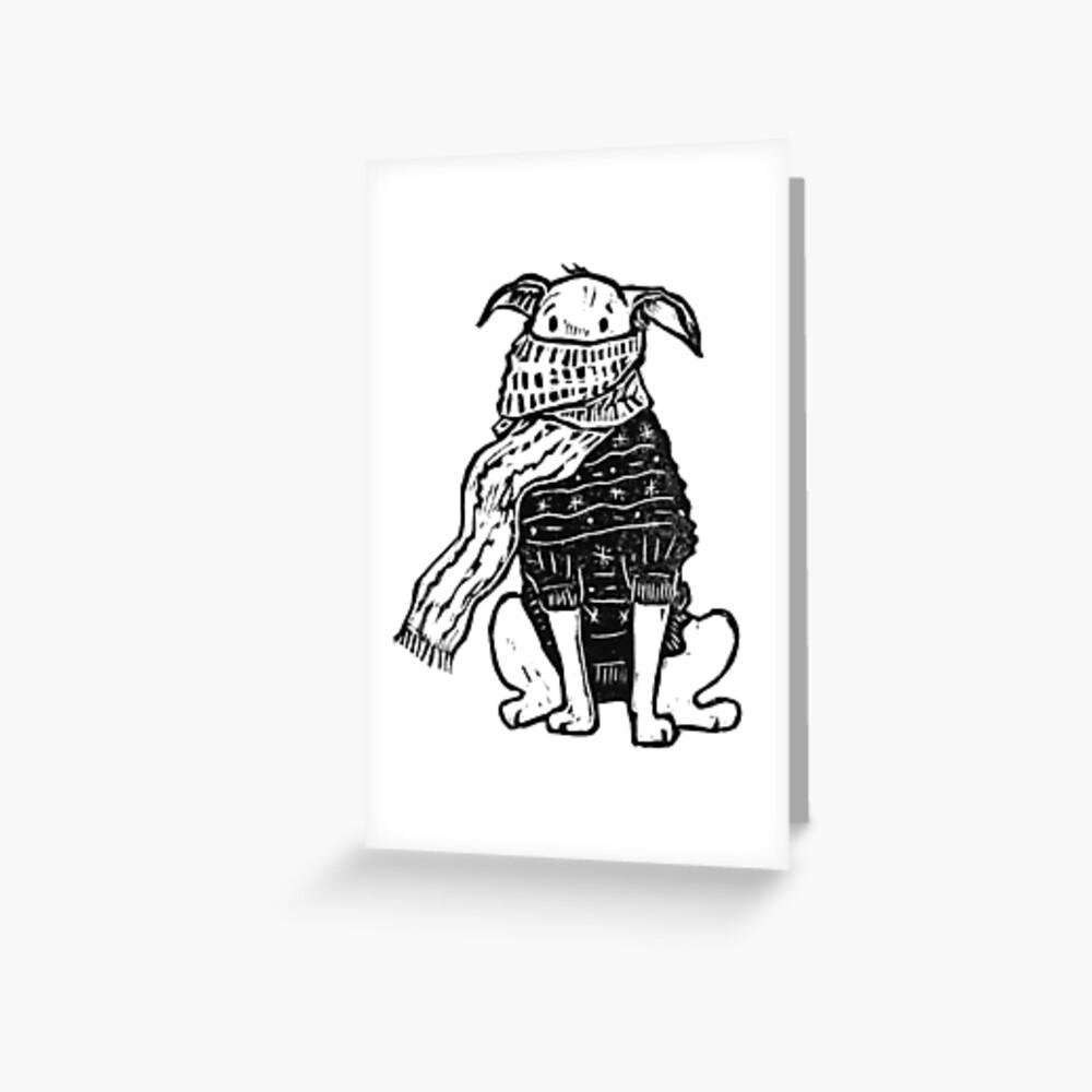 honden kerstkaartje, getekende hond, honden illustratie, kersthond, sneeuw hond, www.DOGvision.be